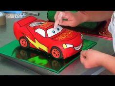 Cars Cake Lightning McQueen tutorial - YouTube Gateau Flash Mcqueen, Mcqueen Car Cake, Cars Cake Design, Avengers Birthday Cakes, Car Cake Tutorial, Lightning Mcqueen Cake, Cake Designs For Kids, Disney Cars Party, Truck Cakes