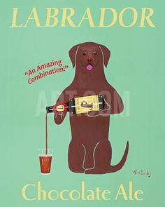 Lab Chocolate Ale Art Print by Ken Bailey at Art.com