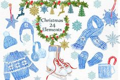 Watercolor Christmas clipart - Illustrations