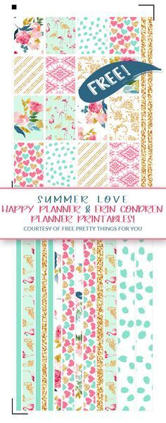 Free Planner Printables: Since my Summer Love digital paper collection is one of my absolutely favorite freebies of all time . I decided to create a matching printable set that fits both the Ha To Do Planner, Free Planner, Planner Pages, Happy Planner, Free Erin Condren, Image Deco, Printable Planner Stickers, Freebies Printable, Free Printables