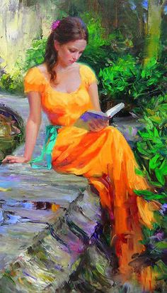 Vladimir Volegov reading painting is shipped worldwide,including stretched canvas and framed art.This Vladimir Volegov reading painting is available at custom size. Reading Art, Woman Reading, Reading Time, Reading Books, Reading Garden, Vladimir Volegov, Most Beautiful Paintings, Beautiful Pictures, Fine Art