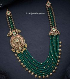 beads jewelry indian gold Emerald beads necklace with peacock side pendant photo Pearl Necklace Designs, Jewelry Design Earrings, Bead Jewellery, Gold Jewelry, Latest Necklace Design, Diy Jewelry, Jewelry Box, Cameo Jewelry, Latest Jewellery