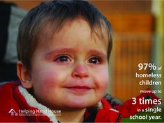 http://helpinghandhouse.org 97% of homeless children move up to 3 times in a single school year. Sad reality. #homelessness #poverty #kids #education