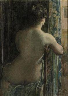 Nicolaas van der Waay - Naaktstudie: a seated nude; Medium: pastel on paper