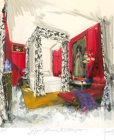 Rendering of 'Goya' Bedroom, East Hampton by Jeremiah Goodman