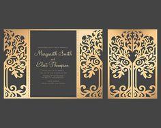 Love Tree Wedding Invitation, Laser Cut Pattern Card Template, SVG, DXF, PLT cutting file, die cut, Silhouette Cameo, Cricut