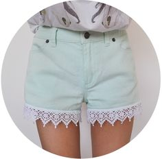 mint shorts with crochet trim by animalist