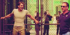 Behind the scenes of Captain America... drooling, good lord this man in perfection.