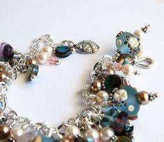 Charm Bracelet  lampwork glass beads Swarovski by AprilsViolets, $211.00