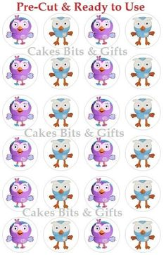 24x HOOT & HOOTABELLE Edible Wafer Cupcake Cake Toppers Giggles & Hoot Pre Cut