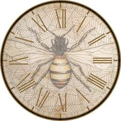 Since I love bees, I love making bee-themed printables. Here are some more: I added a honeycomb background to this one. Vintage Bee, Vintage Labels, Vintage Ephemera, Vintage Clocks, Printable Designs, Free Printables, Clock Face Printable, Bee Pictures, Bee Supplies