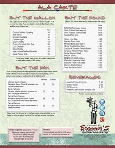 2012 Catering - Ala Catre Menu | Branmor's American Grill