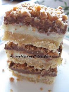 Toffee Chocolate Bars - Base: ¾ c margarine (softened), ¾ c packed brown sugar, 1½  c flour / 	Topping: 10 oz can sweetened condensed milk,  2 T margarine, 1¾ c milk chocolate chips, 1-1/3 c toffee bits
