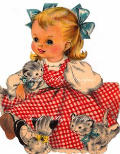A Little Girl and Her Kittens 1940s Greetings Card Vintage Digital Download Printable Images (133)