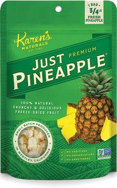 Just Pineapple – Karen's Naturals. Ingredients: freeze-dried pineapple