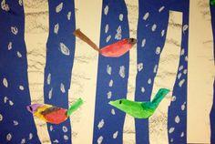 Birch Trees and Birds - preschool or kindergarten winter art / craft project.