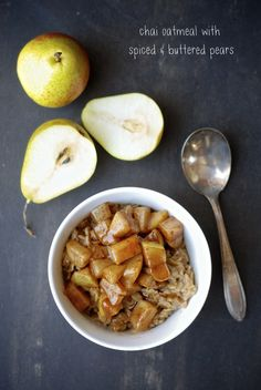 [Gluten-Free Kitchen] Chai Oatmeal with Spiced Buttered Pears via @kumquatblog for @healthyaperture