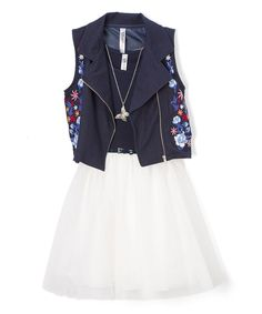 Take a look at this Black & White Belted A-Line Dress - Girls today!