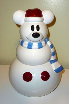Mickey Mouse Santa Cookie Jar - he looks like a polar bear, so cute! Mickey Mouse House, Mickey Mouse Christmas, Disney Christmas, Teapot Cookies, Biscuit Cookies, Biscuits, Christmas Cookie Jars, Mickey Love, Disney Cookies