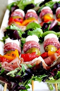 Antipasto skewers. Try these and more satisfying summer recipes.