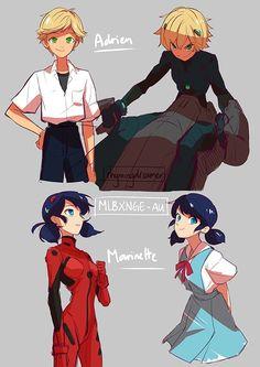 (EvangelionAU!Miraculous: Tales of Ladybug and Cat Noir) Adrien Agreste/Cat Noir and Ladybug/Marinette Dupain-Cheng