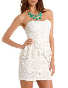White Sweetheart Lace Peplum Dress :: Charlotte Russe