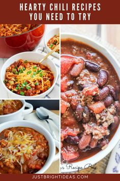 These quick and easy chili recipes are healthy and kid friendly too. They're perfect for lazy winter evenings or tailgating! Hearty Chili Recipe, Chili Recipes, Healthy Dinner Recipes, Easy Recipes, Easy Meals, Tailgating, Thanksgiving Recipes, Lazy, Dinner Ideas
