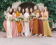 """Magnolia Rouge / Kate Holland on Instagram: """"WEDDING / How amazing is the colour palette in this bridal party shot by @melanieosoriophoto at @casaromanticaweddings Planning…"""" Wedding Bridesmaids, Wedding Attire, Bridesmaid Dresses, Wedding Dresses, Party Shots, Fruit Wedding, Event Decor, Real Weddings, San Clemente"""