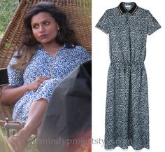 Mindy Kaling is seen wearing this print dress on a photoshoot for InStyle magazine! Thanks myhipsdontlie!❤️ /// Tory Burch 'Honeycomb' Dropwaist Dres