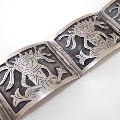 """Vintage Sterling Silver Large Heavy Mexican Scenic Hinged Link Bracelet 7"""" 27mm"""