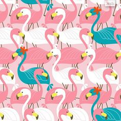 Pink and turquoise flamingo