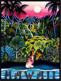 Hawaii Island Hawaiian Girls Oahu Waikiki Vintage Travel Advertisement Poster in Posters   eBay