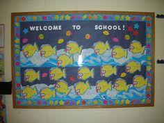 Welcome to School! (Goes great with the goldfish gift idea. Kindergarten Projects, Kindergarten Fun, School Projects, School Ideas, Preschool, Back To School Bulletin Boards, Classroom Bulletin Boards, School Classroom, Classroom Door