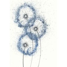Items similar to Dancing Blue Dandelions ( original watercolor... ❤ liked on Polyvore featuring home, home decor, wall art, dandelion painting, watercolor painting, blue painting, watercolor wall art and blue home decor