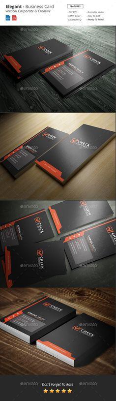 Elegant Vertical Business Card Template PSD #design Download: http://graphicriver.net/item/elegant-vertical-business-card/13397462?ref=ksioks