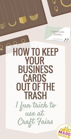 of people will toss your business card in the trash after receiving it. Here's a trick to use at craft fairs that gets them to hang onto it…Creative ideas to make money and marketing ideas. Business Branding, Business Marketing, Content Marketing, Affiliate Marketing, Internet Marketing, Media Marketing, Digital Marketing, Business Design, Craft Business