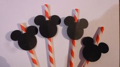 25 Mickey Mouse Red Stripped Paper Straws- Black Mickey Mouse Card Stock Attached- Disney Mickey Minnie Party