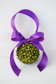 Green Berry Flower Girl Pomander  Purple by MackensleyDesigns