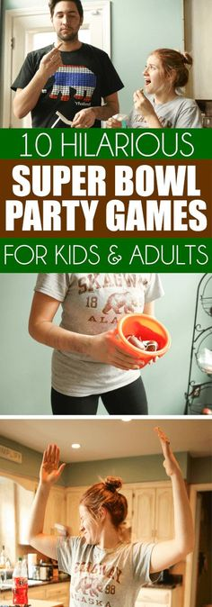 These hilarious Super Bowl party games are perfect for kids or for adults and they're quick enough that you could play during halftime. Divide everyone who plays into groups and play minute to win it style or head to head! Tons of great super bowl party g