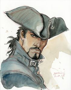 Portrait du Scorpion - Aquarelle by Comic Artist(s) Enrico Marini - W. Fantasy Books, Fantasy Art, Rpg Pathfinder, Pirate Illustration, Pirate Cartoon, Bd Art, Pirate Art, Bd Comics, Expositions