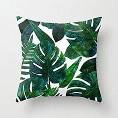 Banana Leaves Throw Pillow Covers Decorative 18 x 18 Home Decor Pillow Case Canvas Cushion Covers for Sofa