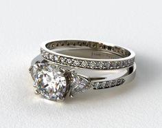 1713214019W | 18k White Gold 3 Stone, Pave Diamond Engagement Ring & .26ct Pave Diamond Eternity Band - Mobile