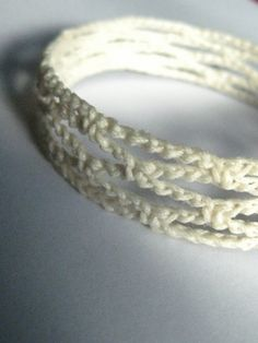 bracciale uncinetto cottone bianco rete  lemos_J PBC010 di 0lemos0, $10.00