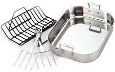 All-Clad 501631 Stainless Steel Large Roti Combo with Rack and Turkey Lifters Cookware, Silver >>> You can get additional details at the image link.