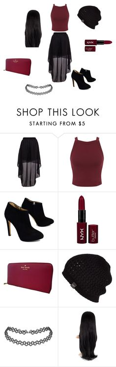 """""""Black & Burgundy"""" by lover-860 ❤ liked on Polyvore featuring Miss Selfridge, Giuseppe Zanotti, NYX, Kate Spade and UGG Australia"""