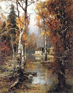 """laclefdescoeurs: """" A Woodland Cottage, Yuli Yulievich Klever """" (Note: Klever was Russian, and this painting is an oil on canvas. The artist was a painter and teacher and was known as. Landscape Art, Landscape Paintings, Landscape Photography, Nature Pictures, Art Pictures, Intermediate Colors, Art Carte, Cottage Art, Beautiful Landscapes"""