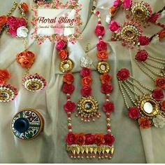 Gota Jewellery Spotted Online for Gota Patti Jewellery, Thread Jewellery, Gold Jewellery, Etsy Jewelry, Wedding Jewelry, Handmade Jewelry, Flower Jewellery For Mehndi, Flower Jewelry, Flower Ornaments
