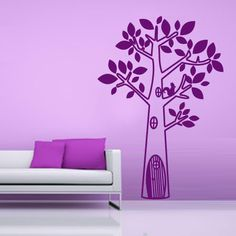 Vinyl Wall Decal Nature Design Tree Wall Decals Wall stickers Nursery wall decal wall art- tree with squirrel z008