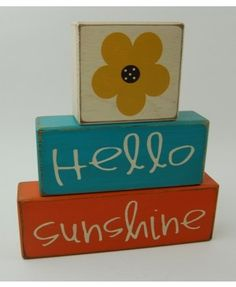 Hello Sunshine-Summer-Primitive Wood Sign Blocks