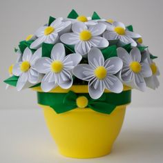 Potted Paper Flower Bouquet - Daisy